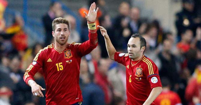 Image result for Sergio Ramos with Andres Iniesta