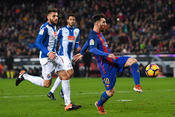 during the La Liga match between FC Barcelona and RCD Espanyol at the Camp Nou stadium on December 18, 2016 in Barcelona, Spain.